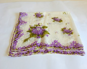 Vintage Scarf Large  Square Scarf Purple Floral Lilacs  Gift for Her