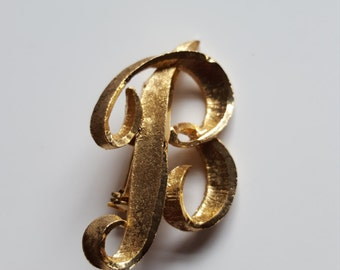 Vintage Mamselle Initial Pin Brooch B Brushed Gold