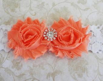 Coral Peach Flower Headband, Baby Headband, Chiffon Flower Headband, Coral Shabby Headband,  White Lace Headband, Infant Stretch Headband