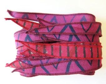 Silk Ribbon, Yoga Bracelet, W575