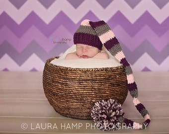 Newborn Striped Elf Hat