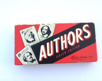 1943 Game of Authors Salem Edition With Second Full Set of Game Cards Famous Authors Card Matching Game for Three, Four or Five Players