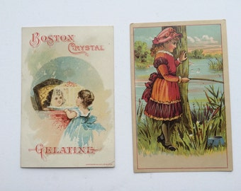 Victorian Trade Cards Set of Two  Boston Crystal Gelatine and G. M. Olmsted and Co's Soaps Antique Advertising Cards Collecting or Scrapbook
