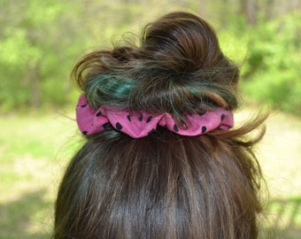 Pink and Black Polka Dots Scrunchie