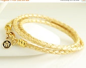 Valentines Day Gift Womens leather bracelet, Gold metallic braided leather cord wrap bracelet with small lotus charm