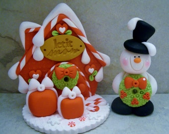 Let It Snow - Snowman - Polymer Clay - Christmas - Holiday Set - Figurines