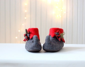 Fairy shoes - felted wool slippers - elf shoes - made to order - Mothers day gift - gift for her - red slippers - women slippers
