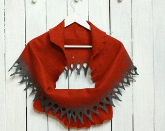 SALE Women infinity scarf - felted wool circle scarf from rust and grey merino wool - autumn winter scarf