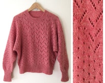 Peachy keen sweater // vintage mohair hand knit // 1980s preppy dolman sleeve jumper // s - m