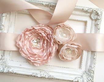 Blush Pink Champagne Flower Rhinestone Rustic Wedding Sash Belt , Bridal Maternity Sash Belt , Bridesmaids Prom Dress Bling Sparkly Fashion