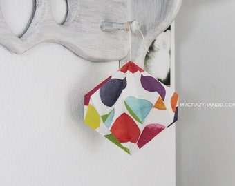 origami diamond || 5 3/8'' hanging home decor || origami kusudama ||| paper diamond ball -watercolor dots