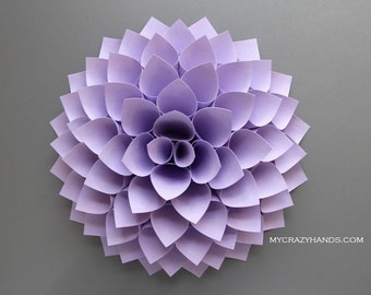 texture paper dahlia || 10 1/8'' dahlia flower wall art || wedding gift || nursery wall decor || baby shower || origami flower -pale orchid