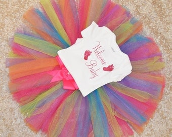 welcome baby outfit,FREE SHIPPING,  new born outfit,newborn girl outfit, colorful newborn tutu,colorful tutu,welcome baby outfit