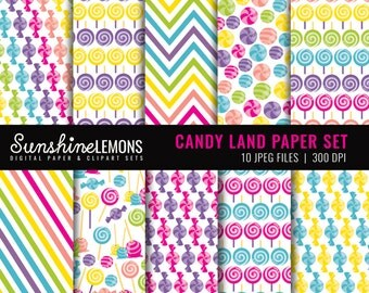 Candy Land Digital Paper Set - Candy Paper Set - Set of Ten Papers - COMMERCIAL USE Read Terms Below