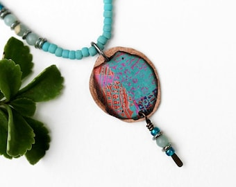Blue Mixed Media Necklace, Mixed Media Jewelry, Pink, Bead Necklace, Short, Seed Bead, Bohemian, Beaded Jewelry, Pendant Necklace