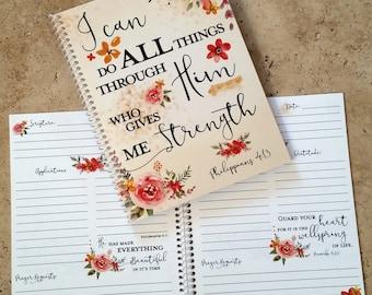 Scripture Prayer Journal - Bible Journaling - Journal - Christian gift - Scripture Journal **Orange Watercolor**
