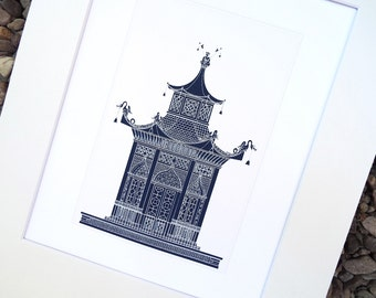 Navy Pagoda 1 Architectural Drawing Archival Quality Print