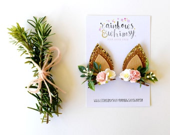 Fawn Ears Hair Clips - Brown, Pink & White