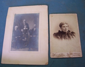 Turn of the Century Portraits...Photographs of Young Woman and Family..Sepia and Black & White Photographs...Ephemera