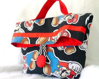 Lunch Bag, Sandwich Bag, Childs Bag, Purse, Small Purse, Childs Tote, Lunch Tote, Sandwich Tote, Upcycled Mario Bros Bag, Repurposed Mario