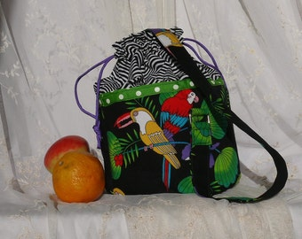 Lunch bucket lunch pail lunch tote cotton fabric bag again Tropical Parrots Lunch Bag AGain