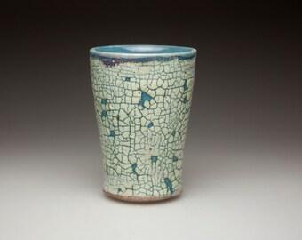 blue green glazed  cracked surface ceramic  pottery tumbler