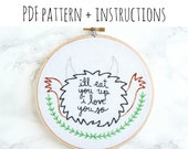 PATTERN: I'll Eat You Up I Love You So Hand Embroidery Pattern with Instructions
