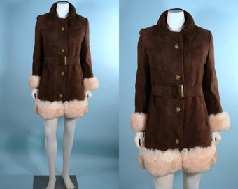 SALE Vintage 60s Brown Suede Genuine Shearling Trim Princess Coat/ Penny Lane Coat Boho Hippie / Mod Faux Fur Lined Mini Coat SZ S