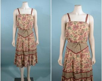 "Vintage 70s Boho Floral Strappy Crop Top Music + Skirt, Festival  Hipster Hippie 2 Piece Set, Summer Sun Dress SZ XS 24"" Waist"