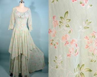 RARE Vintage 60s Gunne Sax Black Label Mint Green Floral Maxi Dress/ Tiered Skirt Boho Chic Maiden Music Festival/ Hippie Bridal Dress SZ S