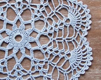 Serenity blue Crochet Vintage Doily