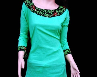 Present for her on Valentines day gift womens tunic tops handmade limegreen hand embroidered salwar kameez gyspy plus size clothing blouse