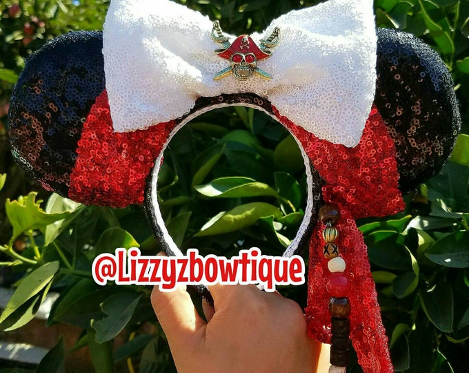 Jack Sparrow Pirates of the Caribbean Sequin Minnie Ears