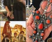 Massive sterling coral Moroccan tribal vintage pendant book piece necklace enameled fibula