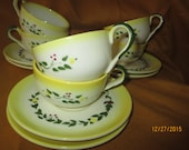 "Vintage Brock Pottery ""Farm House"" Flat Cup & Saucer - Set of 6"