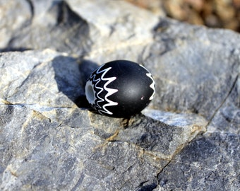 Large Vintage Chevron Trade Bead, African Trade Bead, 6 Layer Venetian Glass, Black and White, CH6