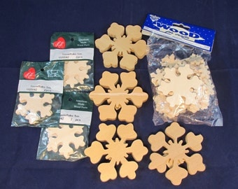 Raw Wood Craft Supplies Destash - Snowflakes
