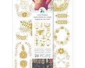 Gold Foil Laurels & Flowers Vinyl Stickers by Momenta - One 6x8-1/4 Sheet