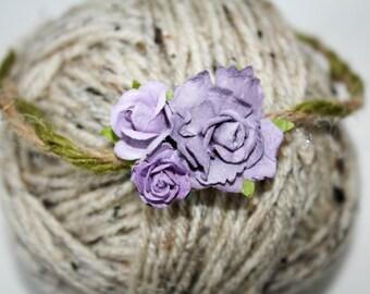 Violet Floral Elastic Headband