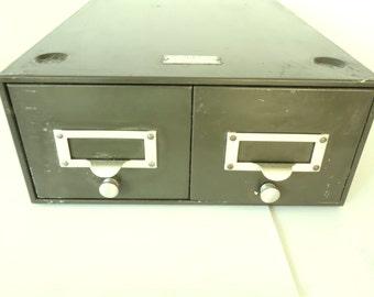 Two Drawer Metal File Box  General Fireproofing Vintage Green Industrial Storage