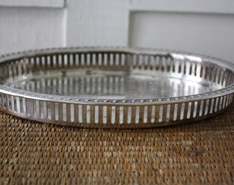 silver trail with rails, oval tray, vintage silver tray, silver gallery tray, cocktail tray, vanity tray