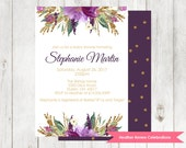 Purple Floral Baby Shower Invitation | Gold Glitter Baby Shower Invite | Baby Sprinkle Printable