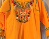 Beautiful Embroidered Golden Yellow Oaxacan Mexican Top size small