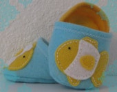 Felt Goldfish Decal Baby Slippers- Gold, Light Aqua and White Fish Baby Shoes