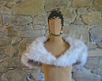1950s white feather shoulder capelet lined with satin vintage handmade French drag queen stage outfit