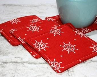 Red Nautical Coasters, Set of 4