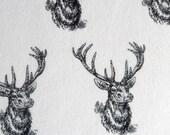 Snuggle Flannel Prints - Black White Deer Heads - 1 3/8ths Yard