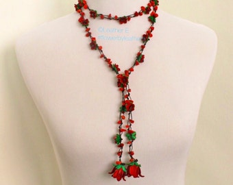 Garden Chain leather flower necklace - red