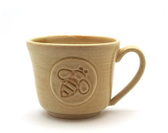 Honey Bee Pottery Coffee Mug, Cream Ceramic Honeybee Tea Cup, Father, Wife or Husband Gift Handmade by Miri Hardy - Ready to Ship