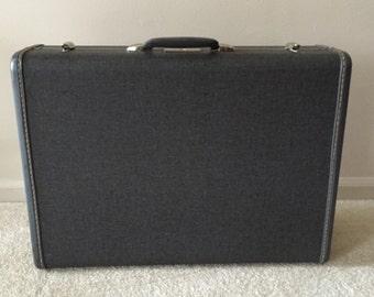 Vintage Gray Linen Samsonite Hard Shell Suitcase